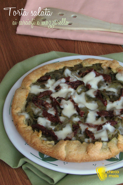 verticale_Torta salata ai carciofi e mozzarella ricetta facile e gustosa il chicco di mais