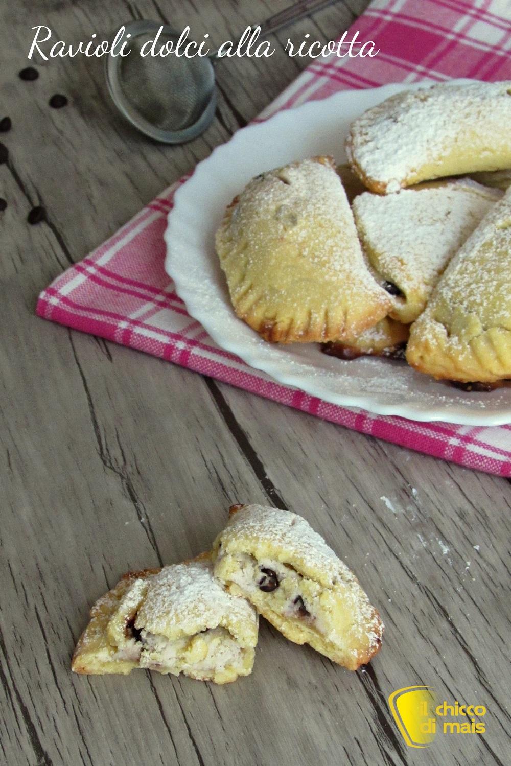 verticale_ravioli dolci alla ricotta al forno ricetta ravioli di carnevale con ricotta e gocce di cioccolato il chicco di mais