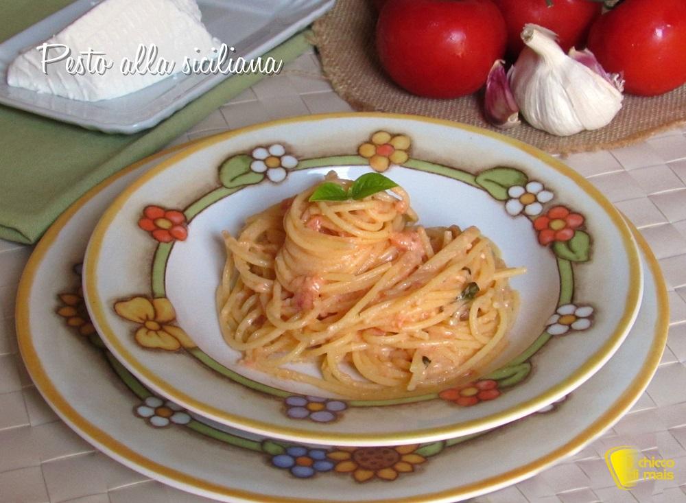 primi veloci pasta con pesto alla siciliana con ricotta ricetta facile estiva il chicco di mais