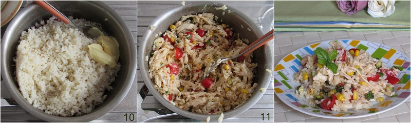 insalata di riso con pollo e verdure ricetta estiva riso freddo con pollo sfilacciato il chicco di mais 4 unire la maionese