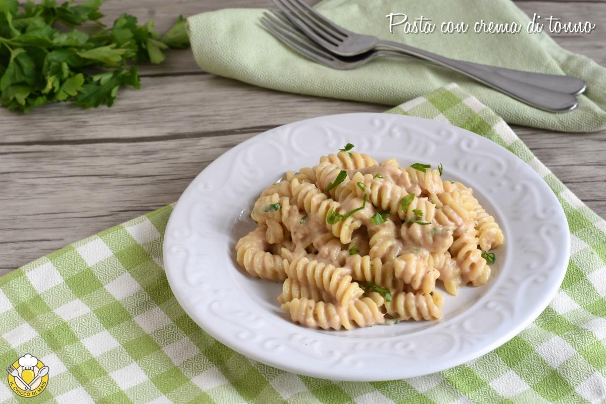 or_ Pasta con crema di tonno o pasta tonnata ricetta facile e veloce il chicco di mais3