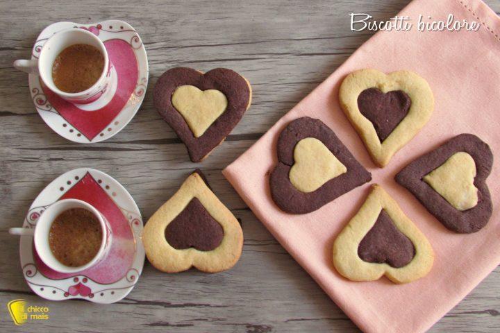 biscotti bicolore a cuore ricetta dolci san valentino il chicco di mais