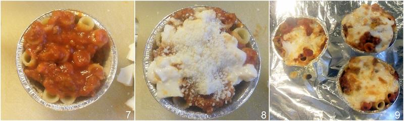 sformato di rigatoni al ragù verticali monoporzione nello stampo del creme caramel il chicco di mais 3 cuocere il timballo di rigatoni