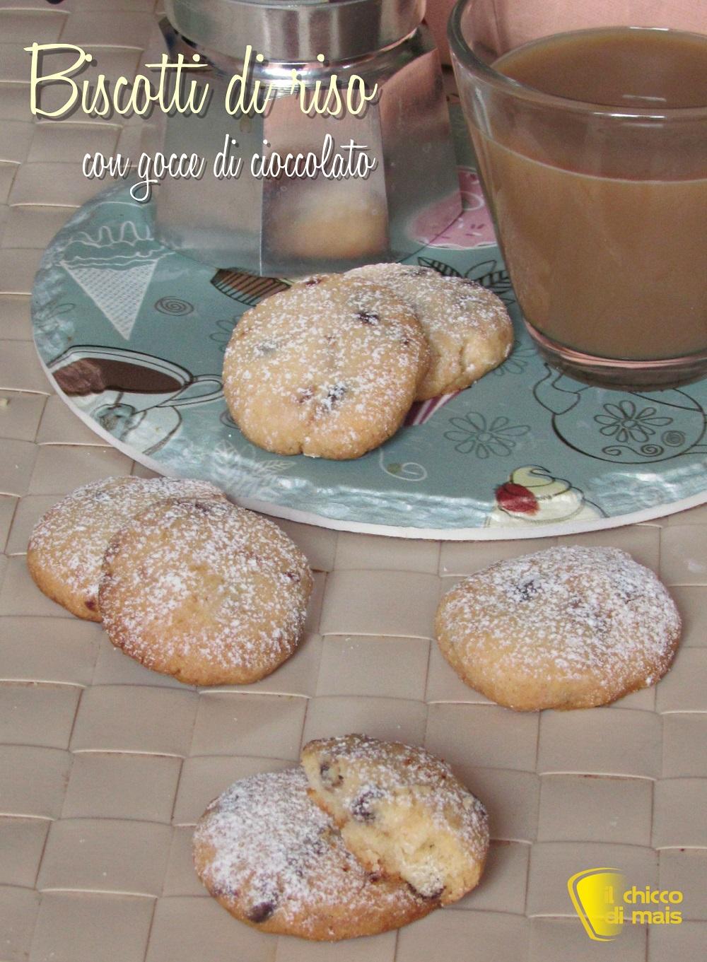 verticale_biscotti di riso con gocce di cioccolato ricetta facile senza glutine biscotti non si sbriciolano il chicco di mais