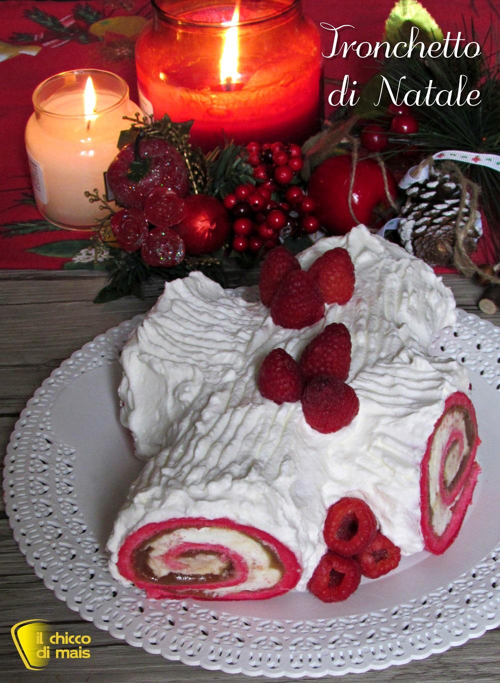 verticale_tronchetto di natale bianco e rosso ai lamponi crema di castagne e panna il chicco di mais