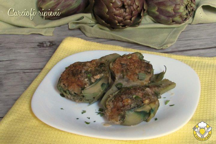 carciofi ripieni senza carne con pangrattato gratinati al forno ricetta il chicco di mais