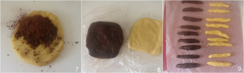 ciambelline al cacao e panna ricetta biscotti bicolore il chicco di mais 3 formare i due impasti