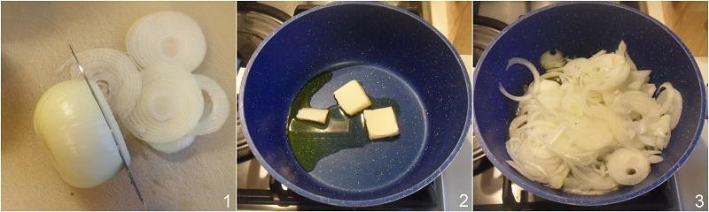 Soupe à l'oignon zuppa di cipolle francese gratinata al formaggio ricetta il chicco di mais 1 rosolare le cipolle