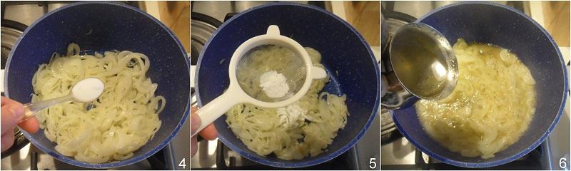 Soupe à l'oignon zuppa di cipolle francese gratinata al formaggio ricetta il chicco di mais 2 unire zucchero e brodo