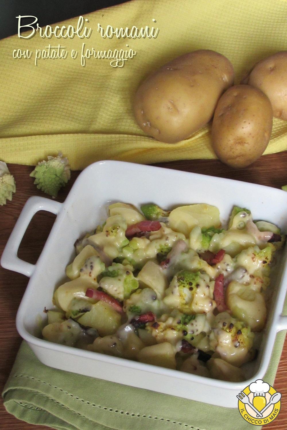 verticale_Broccoli romani con patate e formaggio ricetta al forno con pancetta il chicco di mais