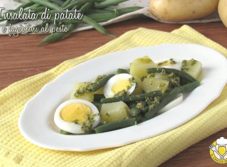 Insalata di patate e fagiolini al pesto con uova sode