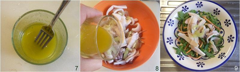 Insalata di calamari sedano e rucola ricetta antipasto o secondo di pesce freddo facile economico il chicco di mais 3 condire con emulsione