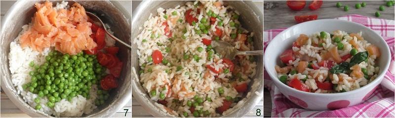 Riso freddo al salmone e piselli ricetta estiva veloce e sfiziosa insalata di riso di pesce il chicco di mais 3 mescolare gli ingredienti