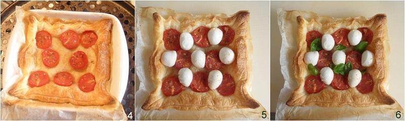 Torta salata caprese con pasta sfoglia pomodorini e mozzarella ricetta estiva il chicco di mais completare con mozzarella e basilico