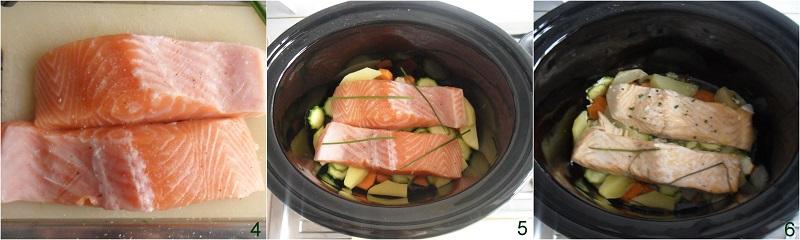 salmone nella slow cooker con verdure ricetta con trancio di salmone fresco a cottura lenta il chicco di mais cuocere nella crock pot