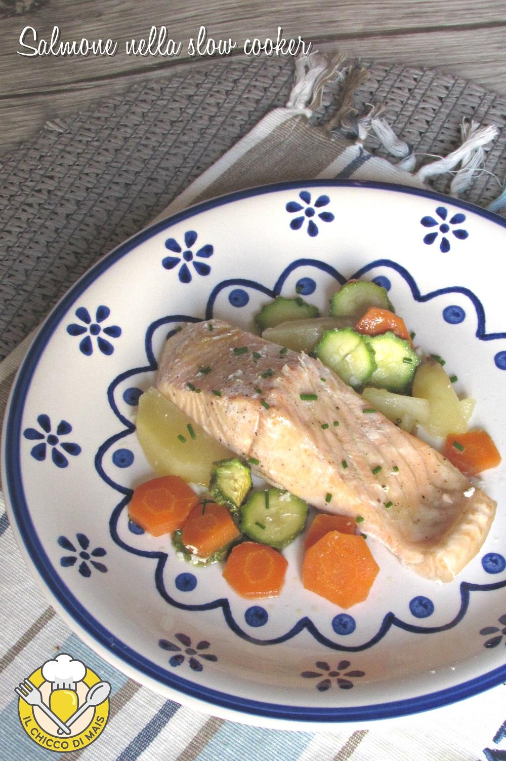 v_ salmone nella slow cooker con verdure ricetta con trancio di salmone fresco a cottura lenta il chicco di mais
