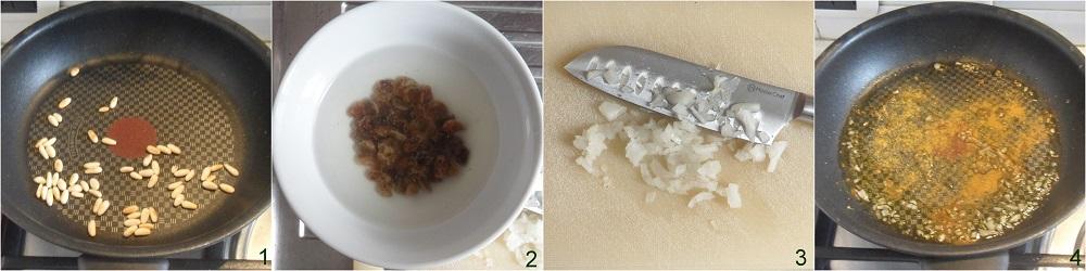 riso saltato al curry con uvetta e pinoli ricetta veloce etnica con basmati il chicco di mais 1 soffriggere la cipolla