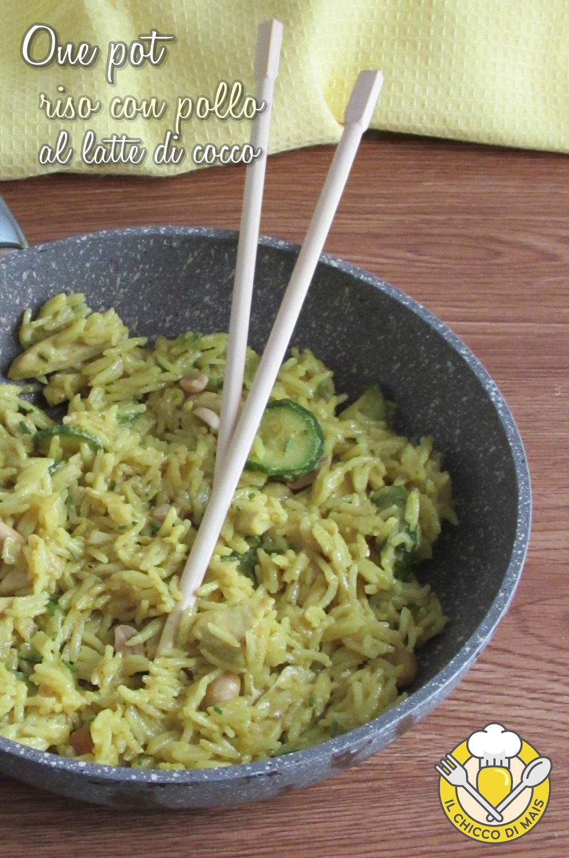 v_ One pot riso con pollo al latte di cocco ricetta thai in un'unica padella il chicco di mais