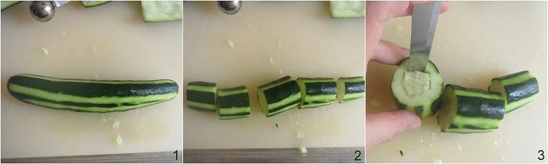 cetrioli ripieni di tonno antipasto freddo senza cottura ricetta facile e veloce il chicco di mais 1 pelare e tagliare il cetriolo