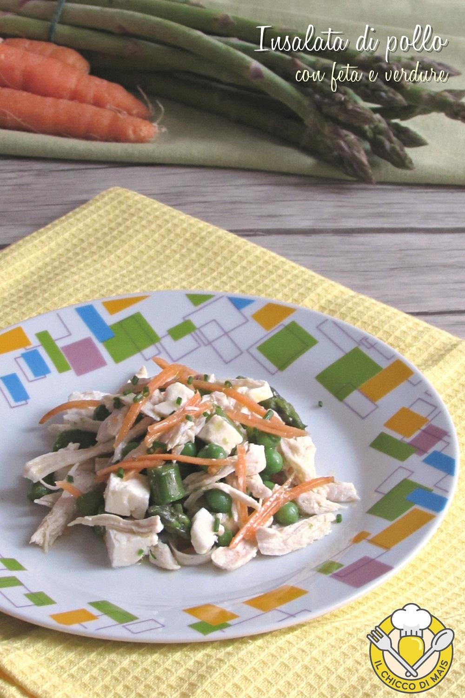 v_ Insalata di pollo con feta e verdure ricetta secondo freddo saporito e leggero il chicco di mais