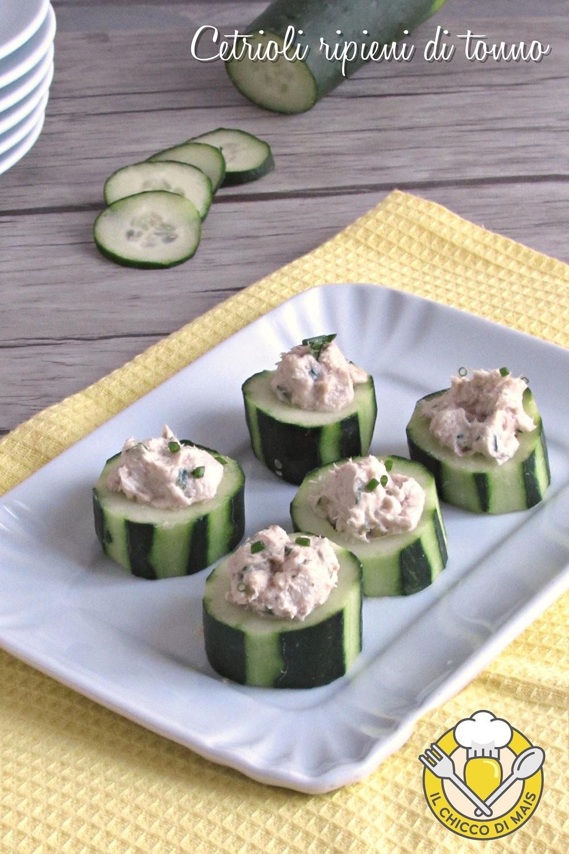 v_ cetrioli ripieni di tonno antipasto freddo senza cottura ricetta facile e veloce il chicco di mais