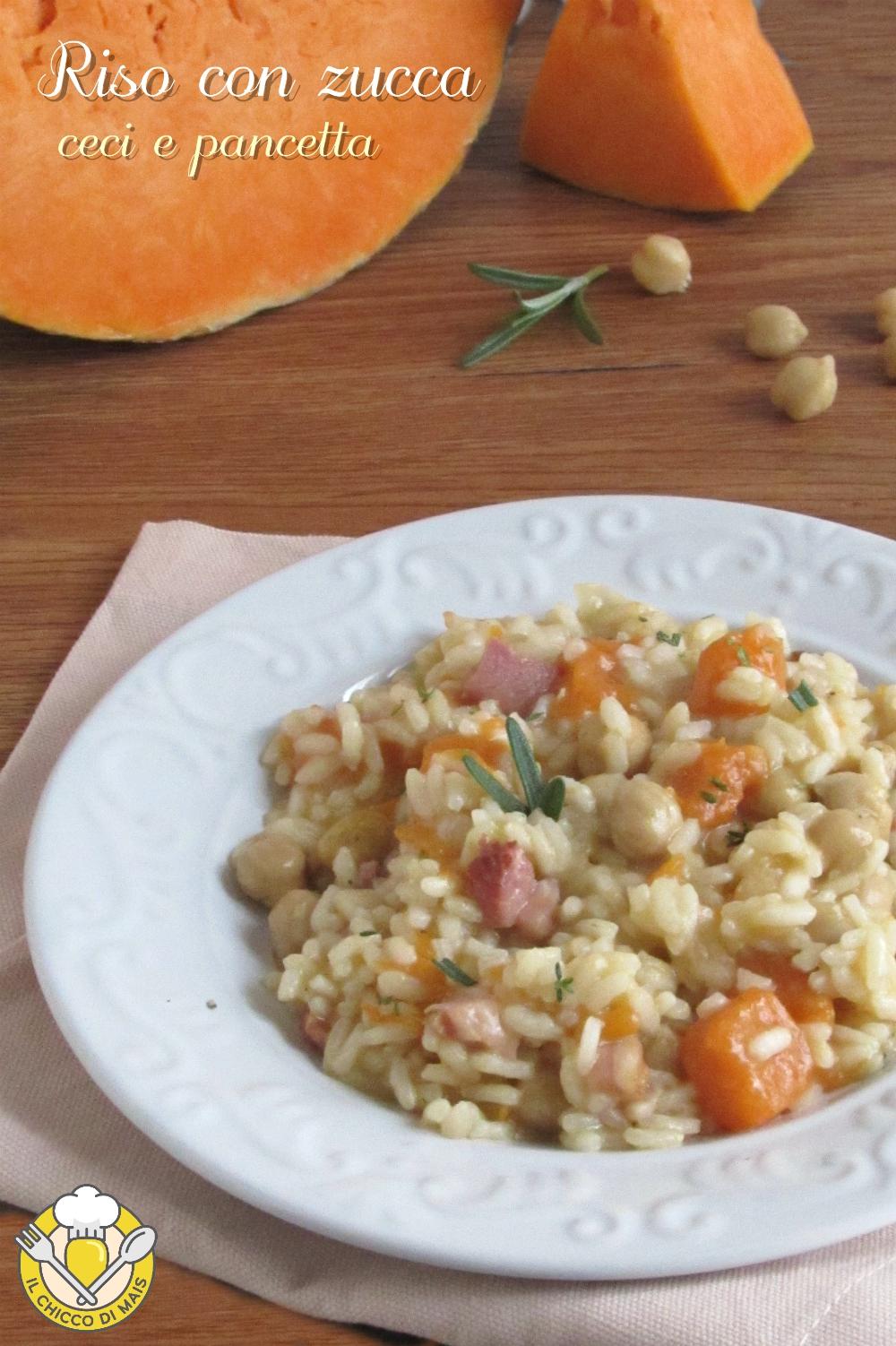 v_ riso con zucca ceci e pancetta ricetta facile autunnale risotto senza burro il chicco di mais