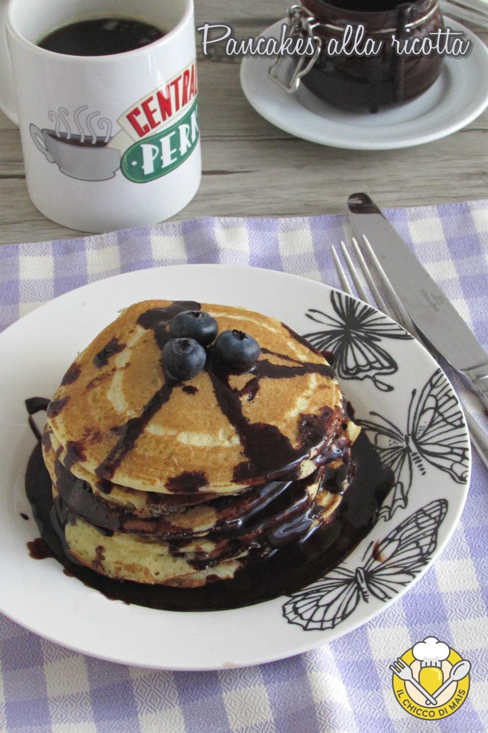v_ Pancakes alla ricotta con salsa al cioccolato ricetta pancakes alti e soffici il chicco di mais