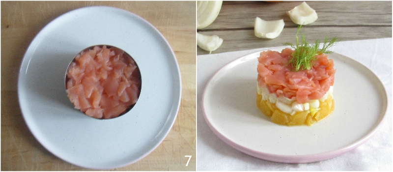tartare di salmone affumicato arancia e finocchi ricetta antipasto facile veloce elegante il chicco di mais 3 togliere il coppapasta