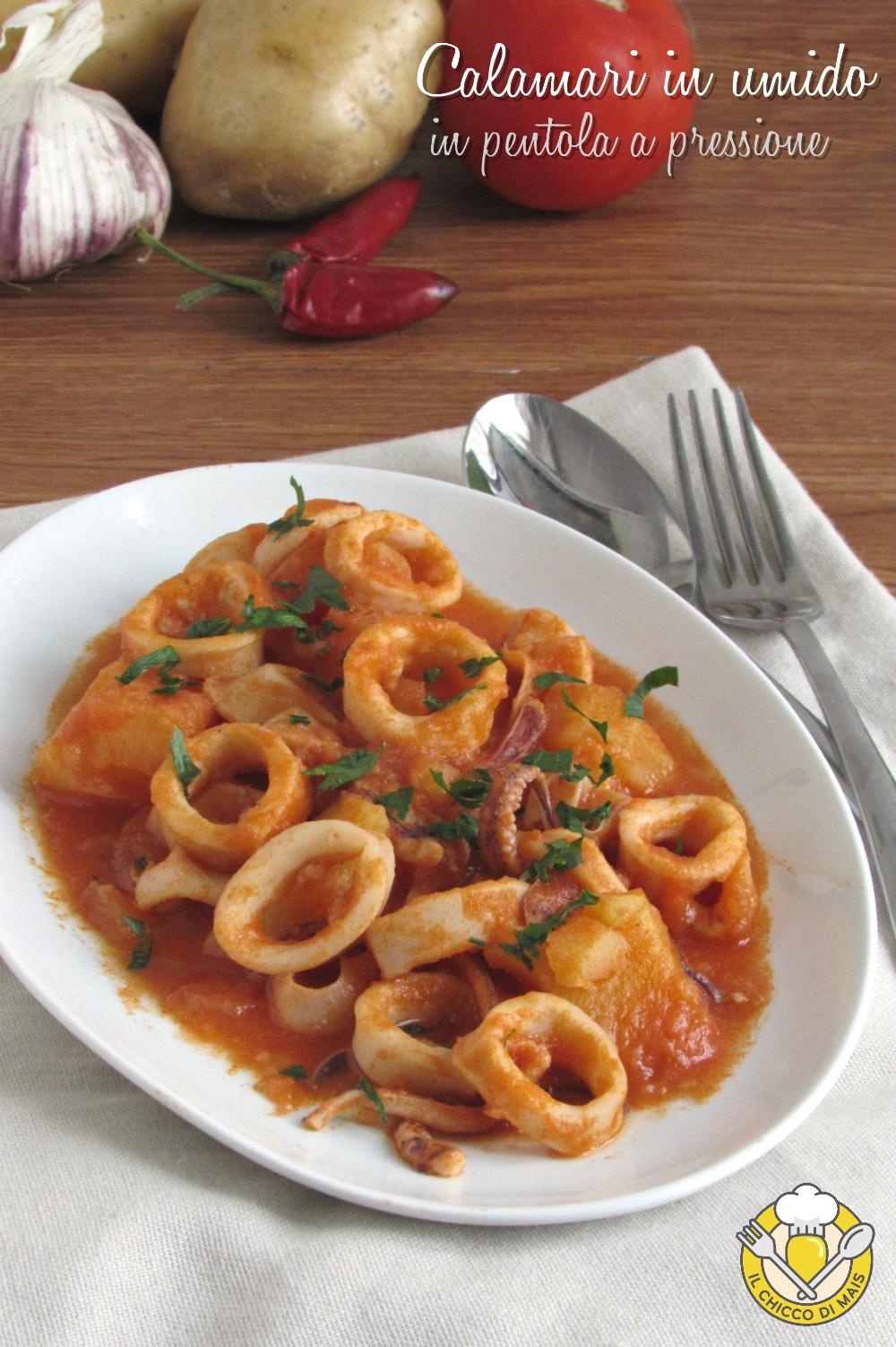 v_ calamari in umido in pentola a pressione con patate e pomodoro ricetta veloce calamari teneri il chicco di mais