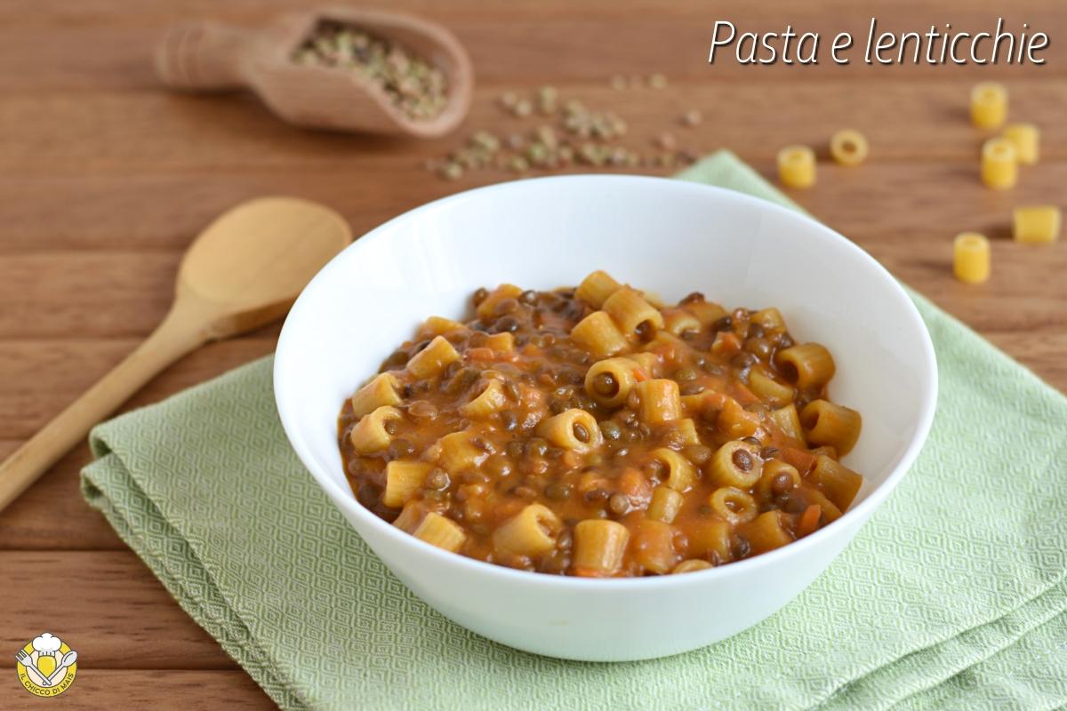 Pasta e lenticchie cremosa ricetta napoletana primo invernale facile economico il chicco di mais