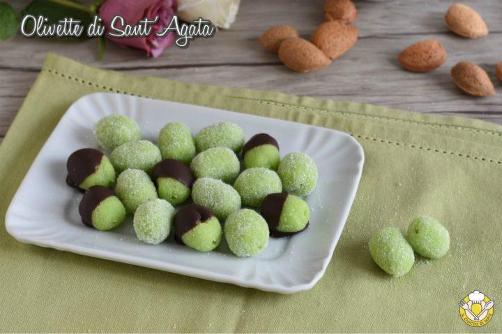 olivette di sant'agata ricetta originale siciliana di catania dolci in pasta di mandorle verdi il chicco di mais