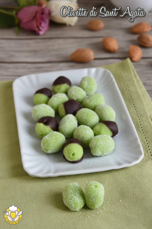 v_ olivette di sant'agata ricetta originale siciliana di catania dolci in pasta di mandorle verdi il chicco di mais