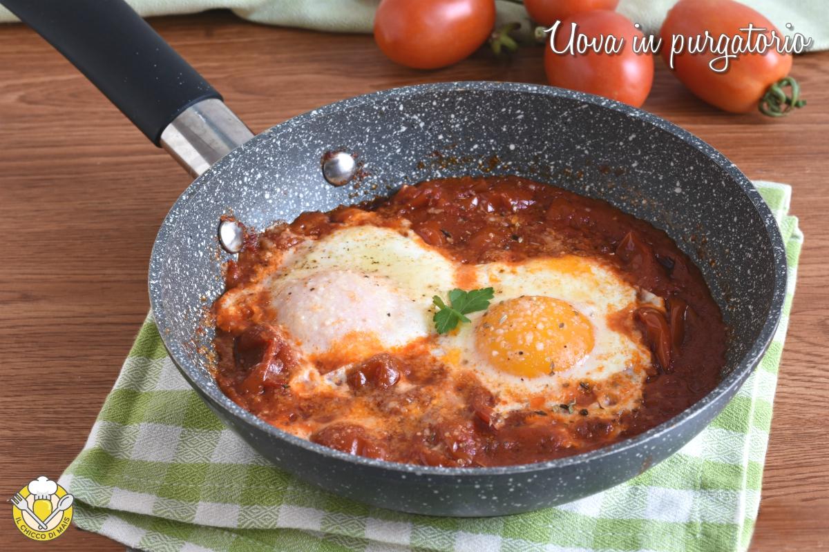 uova in purgatorio ricetta salvacena uova in padella con pomodoro e formaggio il chicco di mais