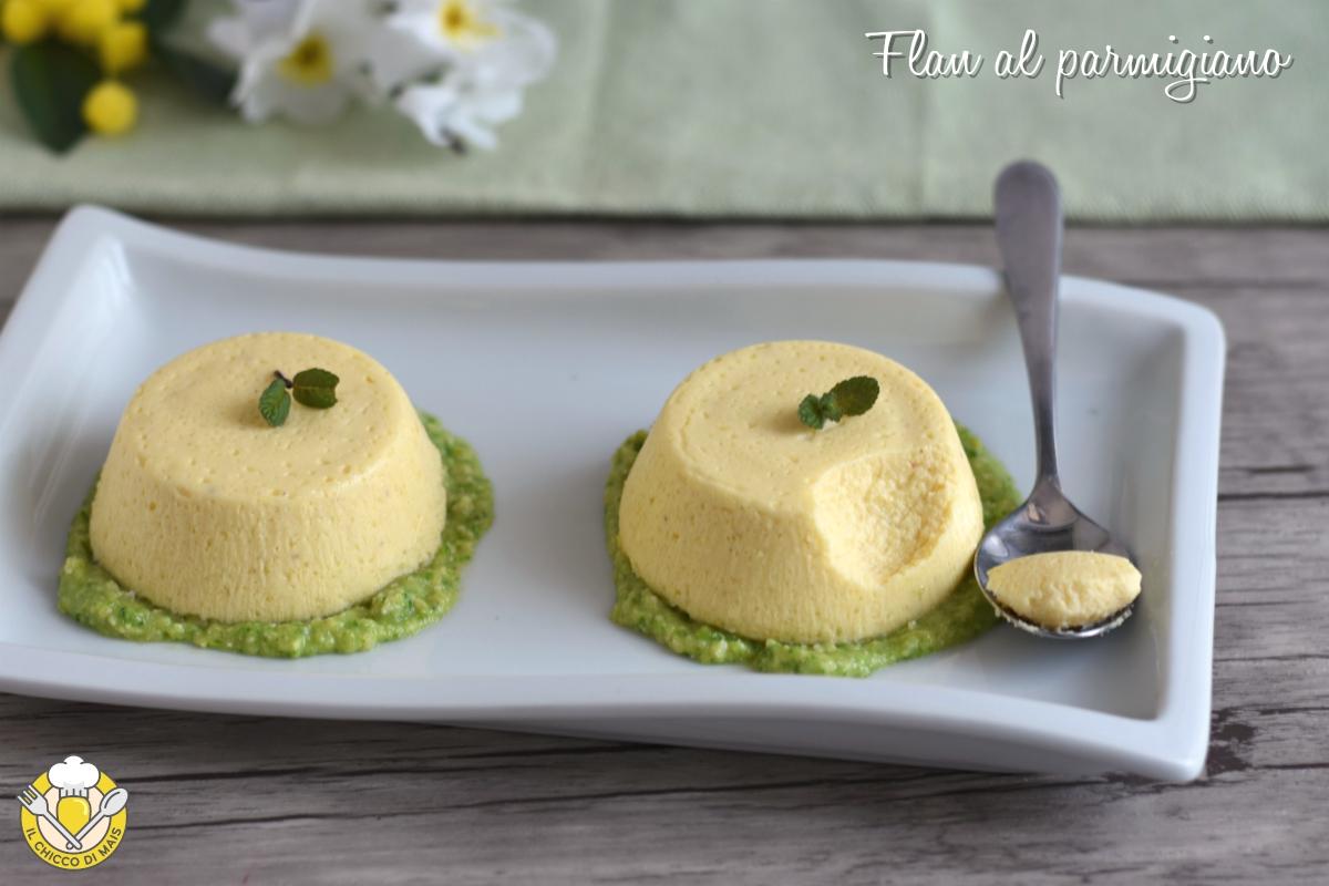 or_ flan al parmigiano con salsa di zucchine ricetta sformatini o tortini antipasto facile raffinato vegetariano il chicco di mais