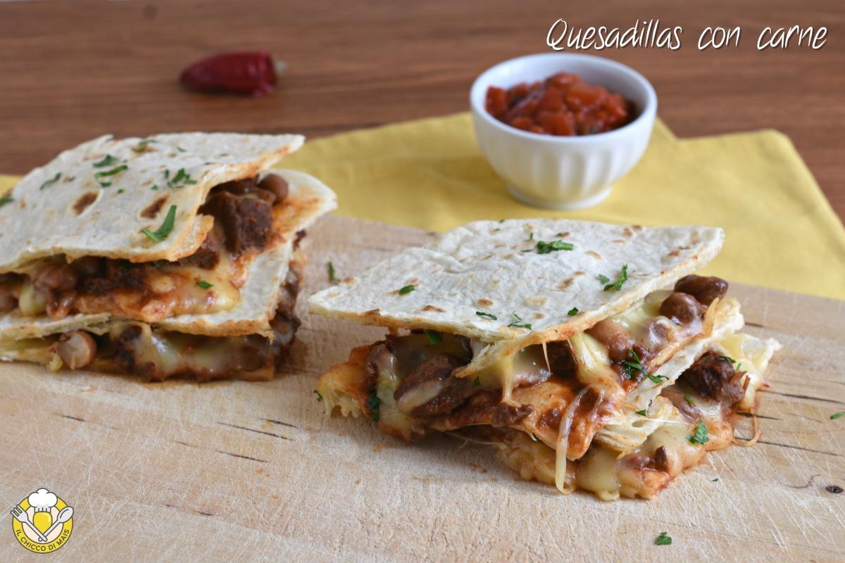 quesadillas con carne ricetta messicana tortillas ripiene di formaggio il chicco di mais