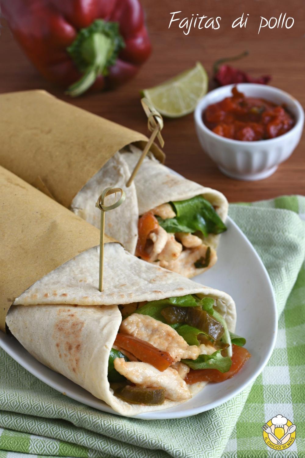 v_ fajitas di pollo e verdure con tortillas ricetta messicana facile piadine arrotolate il chicco di mais