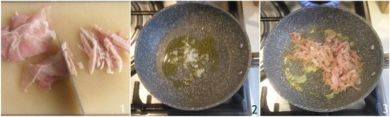 penne al baffo con prosciutto panna e pomodoro ricetta veloce il chicco di mais 1 tagliare il prosciutto cotto
