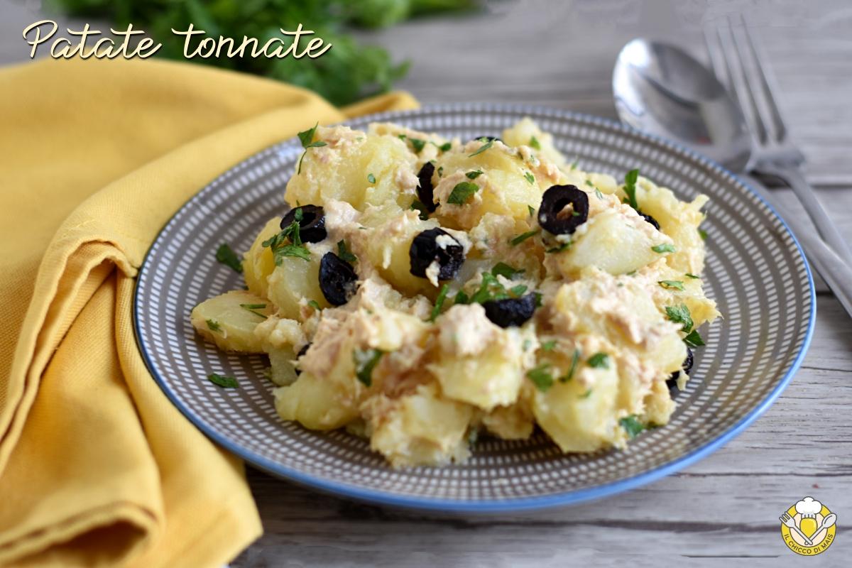 Insalata di patate tonnate con tonno maionese e olive ricetta facile e veloce il chicco di mais