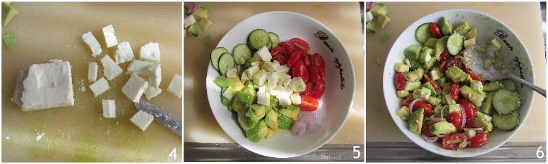 Insalata con feta e avocado ricetta veloce leggera insalatona originale gustosa il chicco di mais 2 condire l'insalata