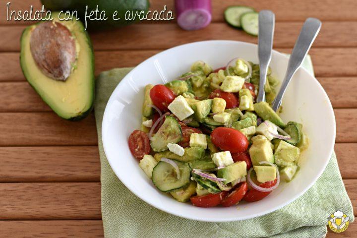Insalata con feta e avocado ricetta veloce leggera insalatona originale gustosa il chicco di mais