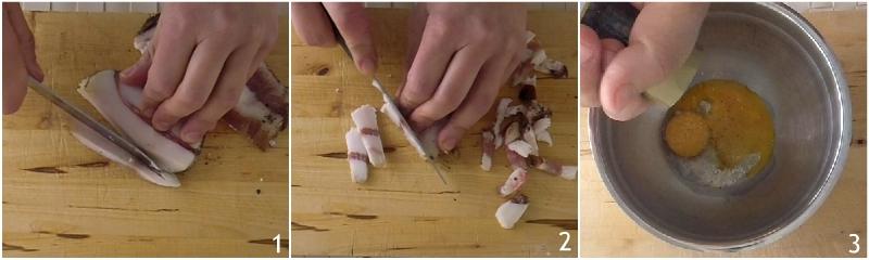 spaghetti alla carbonara cremosi ricetta originale romana con trucco per salsa all'uovo che non si rapprende il chicco di mais 1 tagliare il guanciale