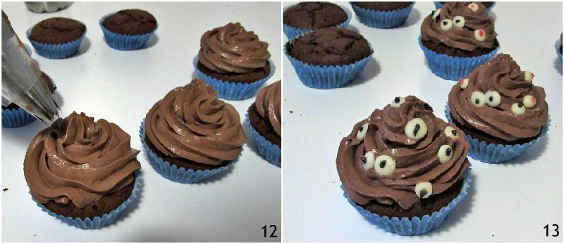 cupcake mostri di halloween al cioccolato ricetta con tutorial per fare le decorazioni ad occhi in casa il chicco di mais 6 decorare i cupcakes