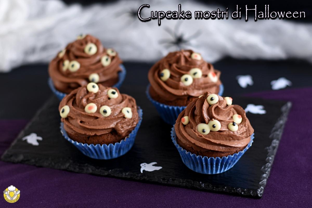 cupcake mostri di halloween al cioccolato ricetta con tutorial per fare le decorazioni ad occhi in casa il chicco di mais
