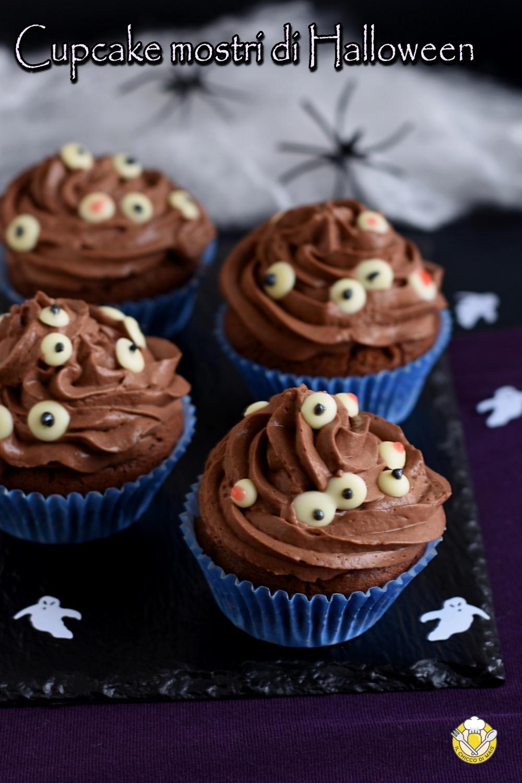 v_ cupcake mostri di halloween al cioccolato ricetta con tutorial per fare le decorazioni ad occhi in casa il chicco di mais