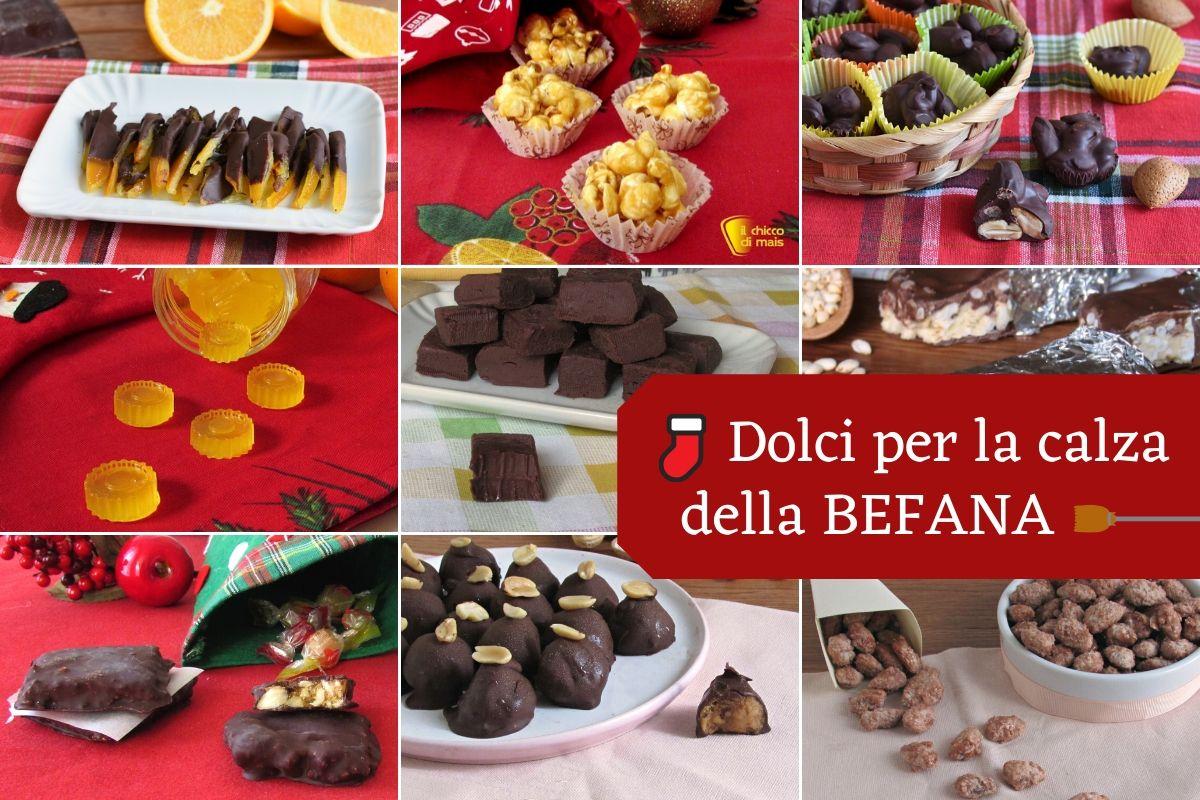 Dolci per la calza della befana fatti in casa ricette facili caramelle cioccolatini frutta secca caramellata il chicco di mais
