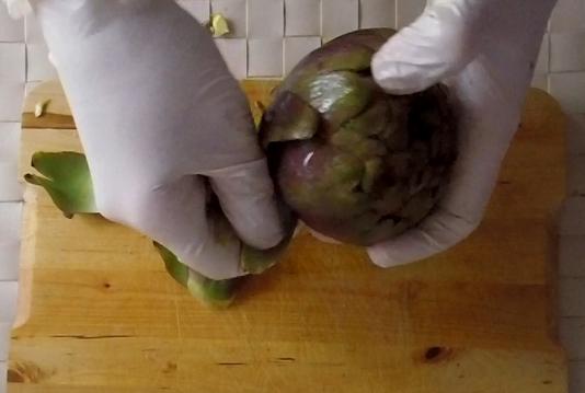 come pulire i carciofi romaneschi mammole violetti cimaroli tutorial con video 4