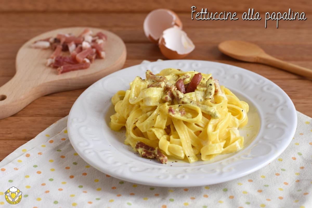 fettuccine alla papalina ricetta originale romana senza piselli il chicco di mais