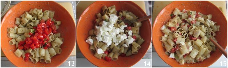 pasta fredda con crema di melanzane bufala e pomodorini ricetta estiva insalata di pasta sfiziosa il chicco di mais 5 condire la pasta