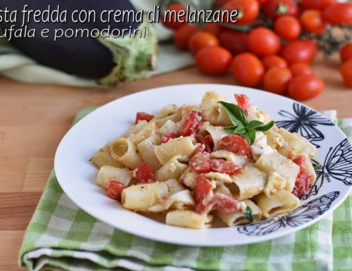 Pasta fredda con crema di melanzane, bufala e pomodorini