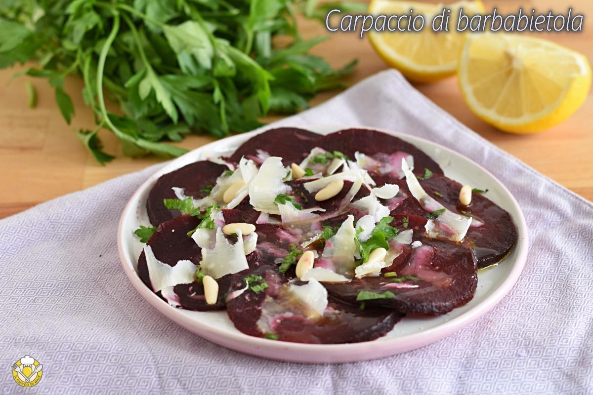 carpaccio di barbabietola con limone grana e pinoli ricetta secondo sano leggero vegetariano il chicco di mais